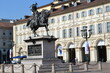 TURIN, ITALY – AUGUST 13, 2013: The equestrian statue of Emmanuel Philibert at the center of the San Carlo Square in Turin, Italy on August 13, 2013
