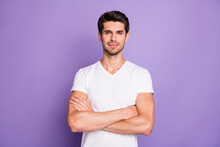 Portrait Of His He Nice Attractive Lovely Content Well-groomed Guy Sale Manager Folded Arms Isolated Over Bright Vivid Shine Vibrant Lilac Violet Purple Color Background