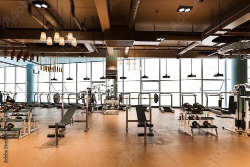 Fotografiet 3d rendering modern and luxury fitness and gym with carpet and view from window