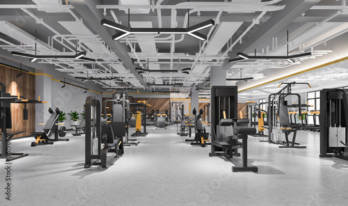 3d rendering modern loft gym and fitness Canvas