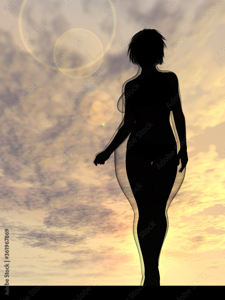Conceptual fat overweight obese female vs slim fit healthy body after weight loss or diet with muscles thin young woman over sunset. Fitness, nutrition or fatness obesity, health shape 3D illustration