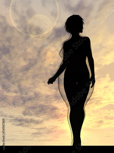 Fototapeta Conceptual fat overweight obese female vs slim fit healthy body after weight loss or diet with muscles thin young woman over sunset. Fitness, nutrition or fatness obesity, health shape 3D illustration obraz