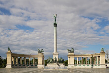 Heroes' Square Or The Millennium Monument Is The Most Important Attraction Of The City. Empty, Extinct Tourist Attraction Due To The Virus. Budapest, Hungary.