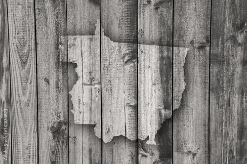 Karte von Mato Grosso auf verwittertem Holz Fototapet