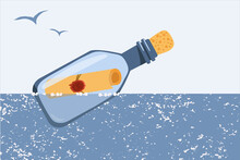 A Bottle With A Message Floats On The Sea. Vector Illustration. Design Of Children's Products.