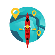 Kayaking Competition Logo - River Route With Gps Pins And Kayak Boat With Oarsmen In Top View - Isolated Vector Tournament Emblem Or Icon Template