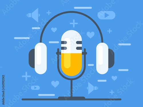 Fényképezés Online broadcasting concept. Audio recording. Vector graphics