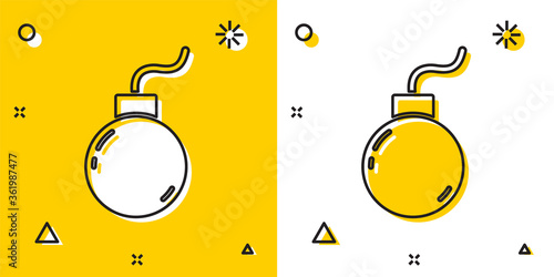 Fotografie, Tablou Black Bomb ready to explode icon isolated on yellow and white background