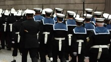 Royal Navy Officers In Uniform Parade Through The Streets In Homecoming. Marching In Formation. Stock Video Clip Footage
