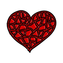 Broken Red Heart Isolated Shape. Mosaic Love Symbol Like Shattered Glass Pieces. Valentine Day Holiday Design Element. EPS10 Vector.