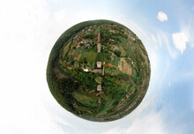 Aerial Little Planet View Of Viaduct In The Village Of Zubrivka Near Kamyanets-Podilskyi. Construction Ceased In 1917 Due To The War. Khmelnitsky Region, Recreation And Tourism, Architecture. Ukraine