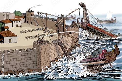 Ancient Rome - Syracuse, Roman ships attack against Archimedes' defensive machin Fototapeta