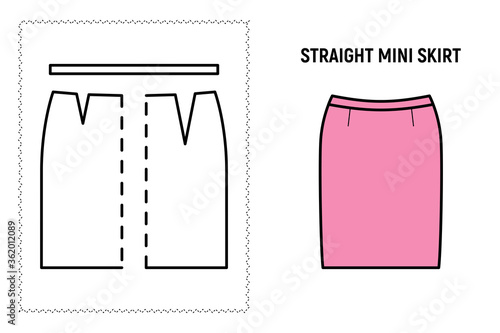 Photo Women straight mini skirt pattern
