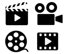 Cinema Icons - Film Clapper, Camera, Film Reel, Video. Cinema Symbol. Vector