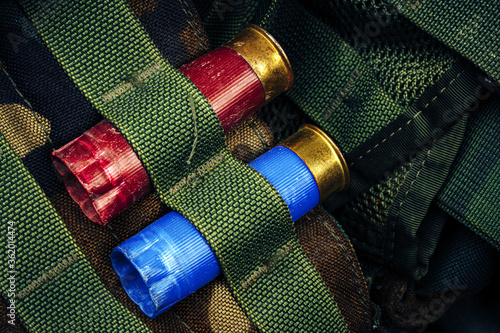 Photo Two hunting cartridges in ammunition belt close up
