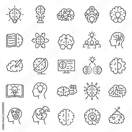 Knowledge, Intellect, iq, icon set Fotobehang