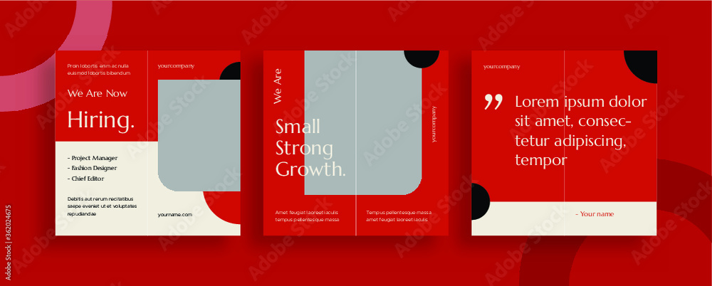 Fototapeta Set of editable templates for Instagram post, Facebook square, corporate, advertisement, and business, fresh design with red and black, minimalist. (3/3)