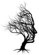 Optical illusion bare tree face man silhouette concept