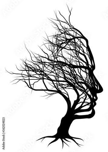 Photo Optical illusion bare tree face man silhouette concept