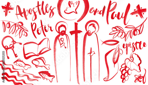 .Hand-drawn set of illustrations of the holy apostles Peter and Paul, Christian Fototapet