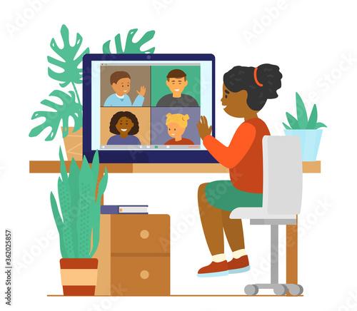 Obraz Kids videoconference chat. Different ethnicity children connecting. Online communication. Flat vector illustration. - fototapety do salonu