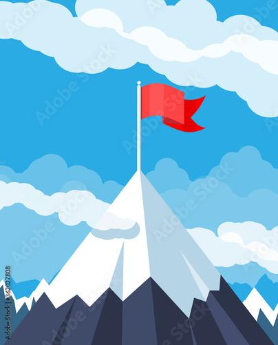 Flag on peak of mountain Canvas Print