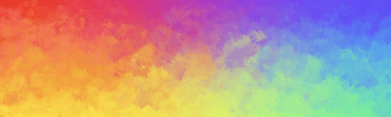 Colorful watercolor background of abstract bright rainbow colors of red orange green blue yellow blue and purple