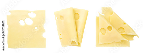 Fotografia Set of cheese slices on a white background, isolated
