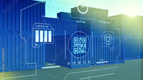 Fotografie, Obraz warehouse with stacks of shipping containers with a futuristic interface, concep