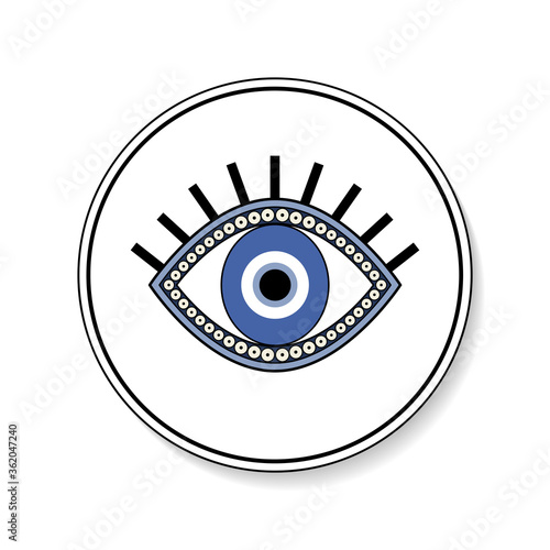 Foto Blue eye isolated icon in round button vector, culture magic good luck symbol il