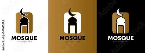 Modern Islamic Mosque Logo - Abstract Mosque Dome And Candle Symbol Canvas Print