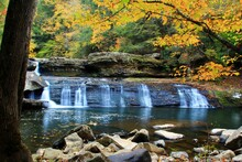 Lower Potter Falls In Obed National Scenic River In Eastern Tennessee During Peak Falls Colors