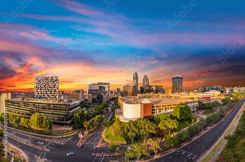 Fototapeta Sandton city at dusk sunset twilight colourful sky obraz