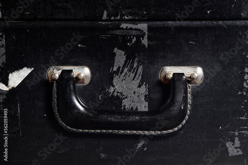 Fotomural abandoned, antique, background, black, box, deteriorated, grip, handle, leather,