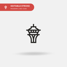 Space Needle Simple Vector Icon. Illustration Symbol Design Template For Web Mobile UI Element. Perfect Color Modern Pictogram On Editable Stroke. Space Needle Icons For Your Business Project