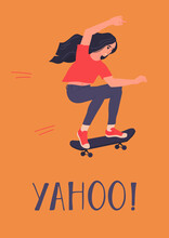 Asian Girl Ridiing Skateboard Card Template With Text Yahoo. Long Hair Young Woman Learning How To Ride On Skate, Loosing Balance. Isolated Vector Illustration In Flat Style For Poster Design.