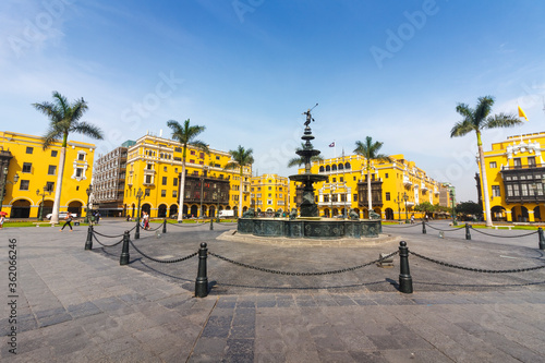 Fotografía LIMA, PERU: View of the antique iron fountain in the main square of the city