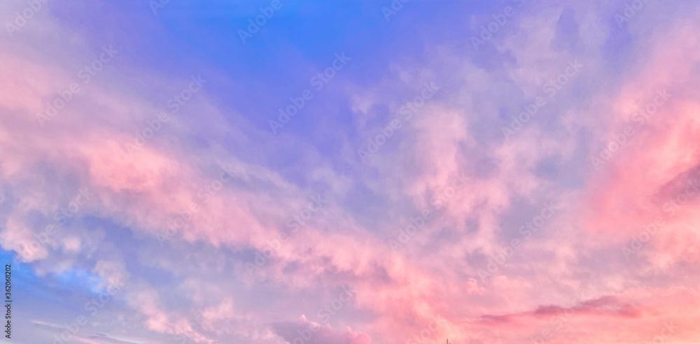 Fototapeta fréjus ciel nuage coché de soleil soir var nature rosé rose violet mauve