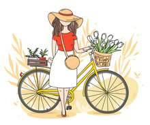 Romantic Postcard With A Girl And A Bicycle On A White Background. A Young Woman In A Hat And Flowers In A Bicycle Basket. Colorful Vector Illustration In Sketch Style. Hand-drawn.