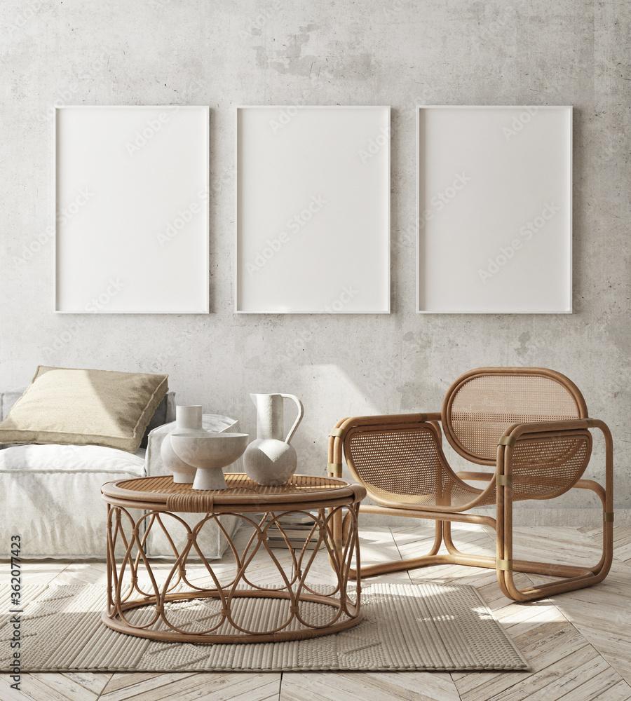 Fototapeta mock up poster frame in modern interior background, living room, Scandinavian style, 3D render, 3D illustration