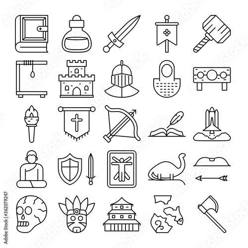 Photo book, poison, dagger, banner, hammer, decapitate, castle icons set