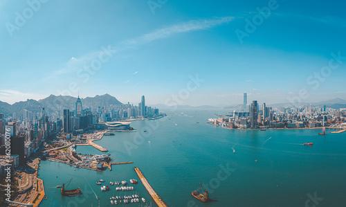 Stampa su Tela Aerial view of Hong Kong City