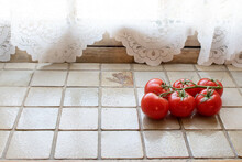Beautiful Tomatoes On The Light Tiles, Retro Kitchen