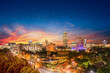canvas print picture - Sandton city at night with twilight and stars in the sky
