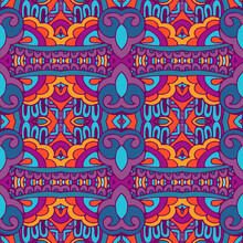 Vector Seamless Pattern Flower Colorful Ethnic Tribal Geometric Psychedelic Mexican Print