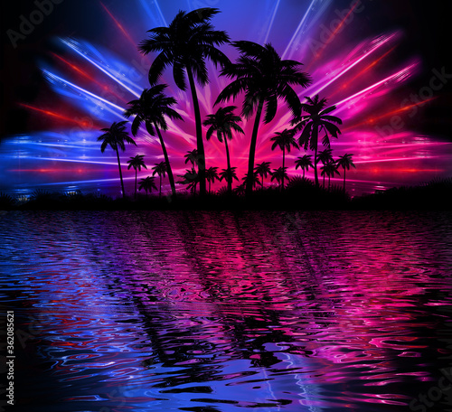 Fototapeta Abstract modern futuristic dark landscape with tropical palm trees, neon lights, rays. Reflection in the water, night view, abstract tropical background. 3d illustration obraz na płótnie