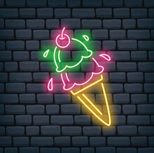 Ice Cream Cone Neon Sign