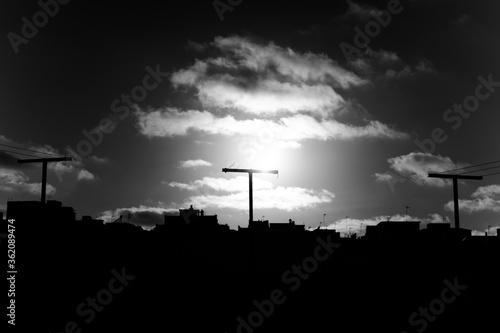 Photo Blanco y negro tendedero nubes