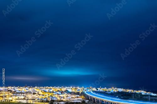 Nocturna nubes ciudad luces farolas casas españa andalucia Canvas Print