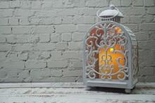 White Metal Lantern With Candl...